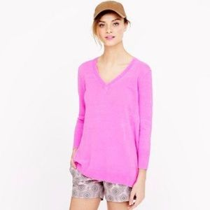 NWOT J. Crew Bright Pink v-neck Sweater